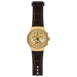 Swatch YOG402 Golden Hide Brown Gents Chronograph