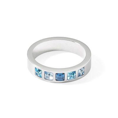Coeur de Lion 0130/40-0717 Damen-Ring Edelstahl Kristalle Pavé multi-blau