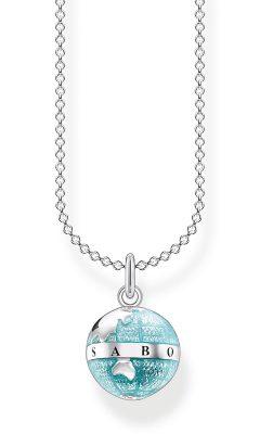 Thomas Sabo KE2061-007-1-L45v Halskette für Damen Weltkugel