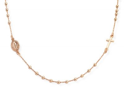 Amen CROR25 Damen-Halskette Rosenkranz Rosé