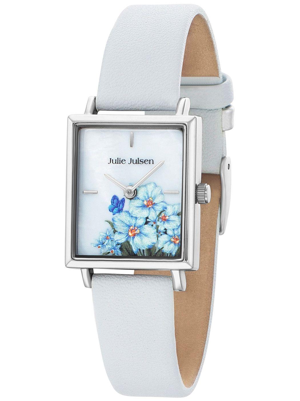 Julie Julsen JJW102SL-4 Damenarmbanduhr Blumen Weiß