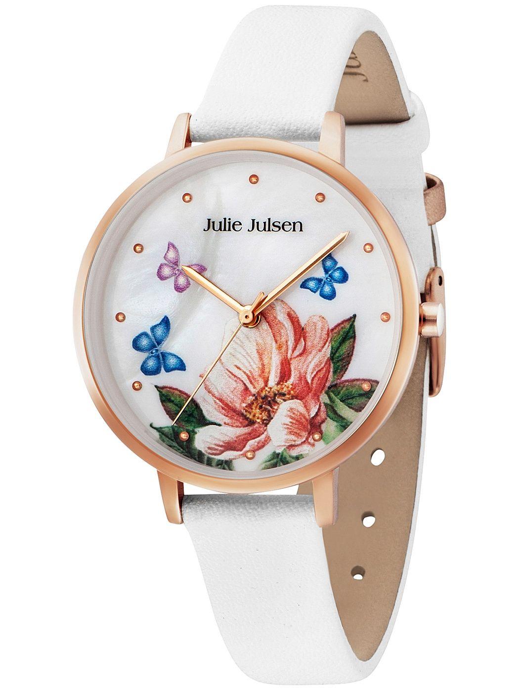 Julie Julsen JJW90RGL-9 Damenuhr Blume und Schmetterlinge