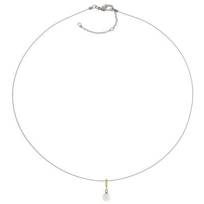 Boccia 08036-02 Damen-Collier mit Titan Perlen-Anhänger gold