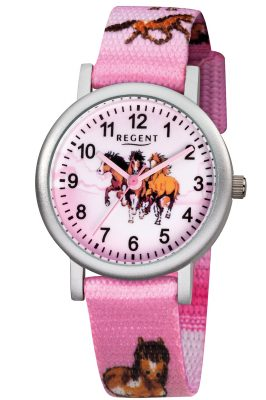 Regent F-729 Kinder-Armbanduhr für Mädchen Pferde Rosa Ø 30 mm