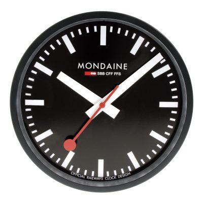 Mondaine A990.CLOCK.64SBB Wanduhr Quarz 25 cm Küchenuhr Schwarz