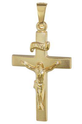 trendor 08623 Korpuskreuz-Anhänger 585 Gold 24 mm