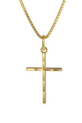 trendor 08492 Kreuz-Anhänger Gold 333 mit goldplattierter Kette