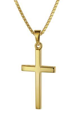 trendor 75412 Kreuz 26 mm Gelbgold 333 / 8 Karat mit vergoldeter Halskette