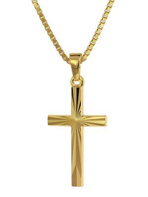 trendor 75438 Kreuz-Anhänger Gold 750 / 18K mit goldplattierter Kette