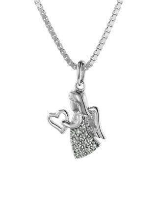 trendor 75468 Engel mit 19 Diamanten Weißgold 585 / 14 K mit Silber-Halskette