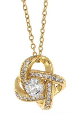 trendor 75856 Damen-Halskette Gold auf Silber Anhänger Knoten mit Zirkonias