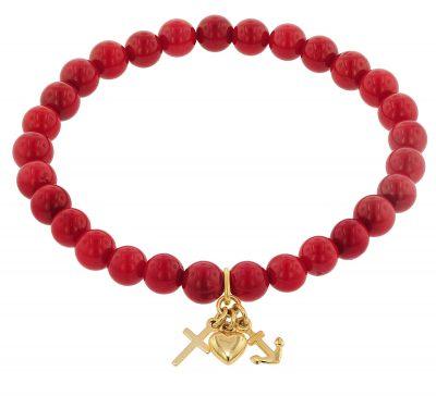 trendor 75529 Armband für Mädchen Bambuskoralle Rot mit Anhänger Gold 333