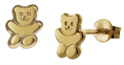trendor 35739 Ohrringe für Mädchen Teddybär Gold 333 / 8 Karat