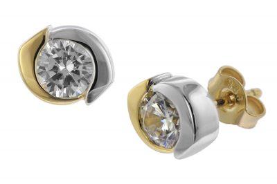 trendor 08706 Damen-Ohrringe Bicolor Gold 333