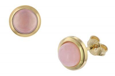 trendor 08916 Ohrringe Gold 333 Rosa Chalcedon