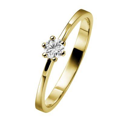 trendor 532467 Verlobungsring 585 Gold mit Diamant 0,10 ct