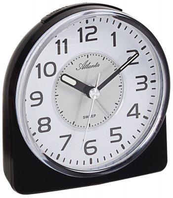 Atlanta 1996/7 Quarz-Wecker mit Leisegang-Uhrwerk Schwarz