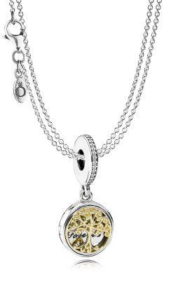 Pandora 08381 Silber-Halskette mit Anhänger Familien-Stammbaum
