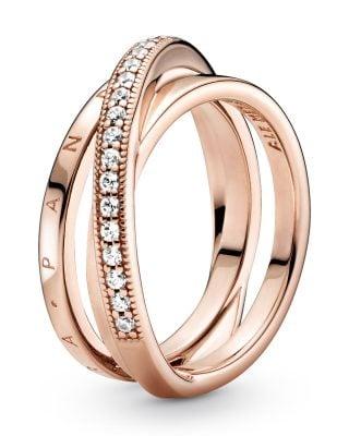 Pandora 189057C01 Rose Damenring Dreifach gekreuzter Pavé-Ring