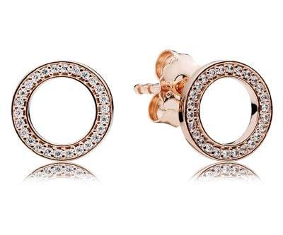 Pandora 280585CZ Damen-Ohrringe Pandora Logo Rosé