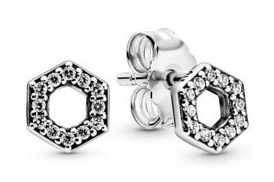 Pandora 298800C01 Ohrstecker Funkelnde Honigwabe Silber Ohrringe