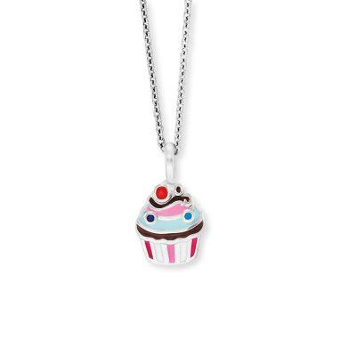 Herzengel HEN-MUFFIN Kinder-Kette Muffin Silber