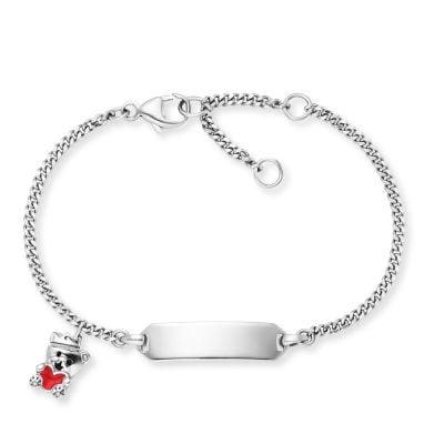 Herzengel HEB-ID-TEDDYLOVE Kinder-Armband mit Gravurschild Teddybär Silber