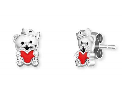 Herzengel HEE-TEDDYLOVE Kinder-Ohrringe Teddybär Ohrstecker Silber