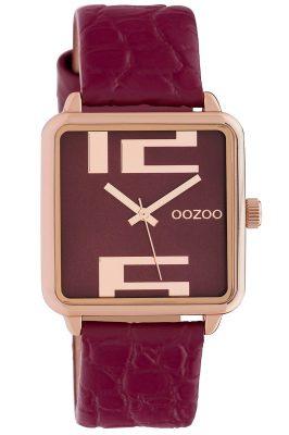 Oozoo C10368 Damenuhr mit Lederband 30 mm Weinrot