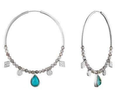 Ania Haie E014-05H Silber Damen-Ohrringe Creolen Turquoise Labradorite