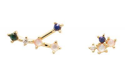 P D Paola AR01-407-U Damen-Ohrringe Sternzeichen Krebs Silber vergoldet