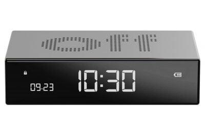 Lexon LR152A Digitalwecker Flip Premium Wecker Silberfarben